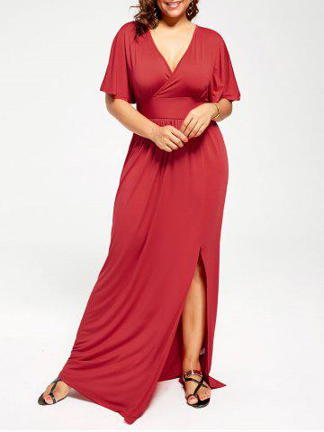 Plus Size Plunge Slit Maxi Empire Waist Formal Dress - Red - 3xl