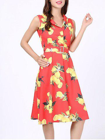 Vintage Peaches Print Skater Dress - Jacinth - S