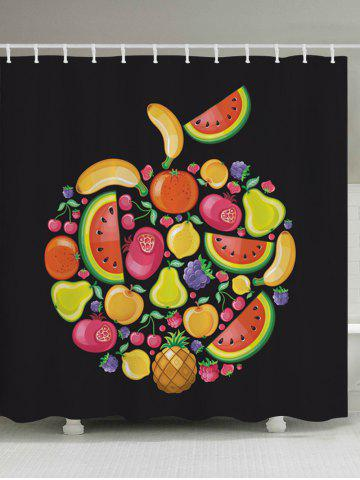 Store Cartoon Fruits Pattern Fabric Waterproof Bathroom Shower Curtain BLACK W59 INCH * L71 INCH