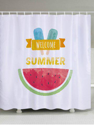 Best Watermelon Ice Cream Pattern Fabric Waterproof Bathroom Shower Curtain