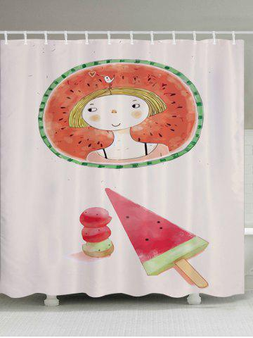Outfit Watermelon Girl Pattern Fabric Waterproof Bathroom Shower Curtain COLORMIX W71 INCH * L79 INCH