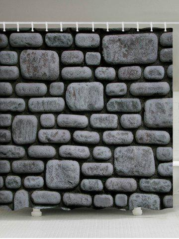 Buy Stone Brick Wall Pattern Fabric Waterproof Bathroom Shower Curtain DEEP GRAY W59 INCH * L71 INCH