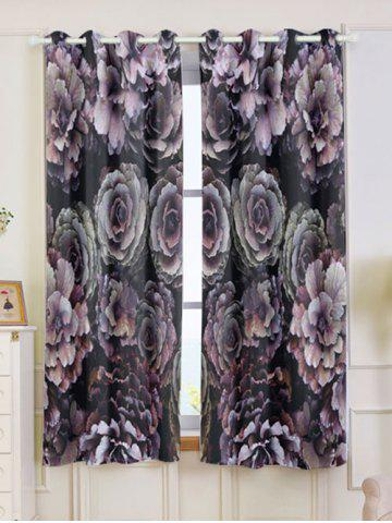 Discount 2PCs Floral Print Blackout Window Curtains - W53 INCH * L63 INCH COLORFUL Mobile