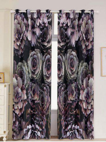 Trendy 2PCs Floral Print Blackout Window Curtains COLORFUL W53 INCH * L84.5 INCH