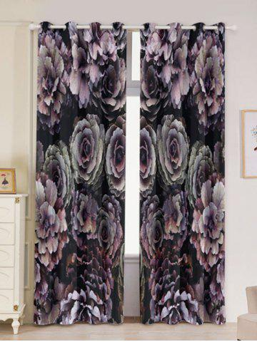 Chic 2PCs Floral Print Blackout Window Curtains - W53 INCH * L96.5 INCH COLORFUL Mobile