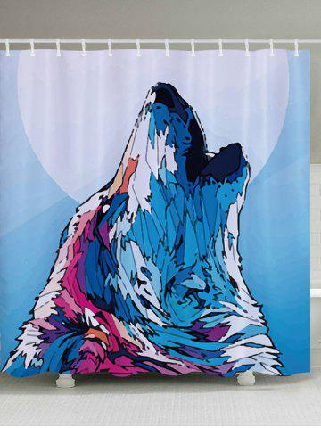 Affordable Wolf Howl Print Fabric Waterproof Bathroom Shower Curtain COLORMIX W59 INCH * L71 INCH