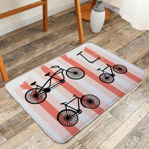 Cheap Coral Velvet Anti-skid Bicycle Striped Door Mat - W16 INCH * L24 INCH COLORMIX Mobile