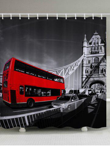 Trendy Vintage Bus Pattern Fabric Waterproof Bathroom Shower Curtain COLORMIX W59 INCH * L71 INCH