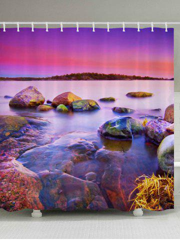 Trendy Sunset Scenery Pattern Fabric Waterproof Bathroom Shower Curtain COLORMIX W59 INCH * L71 INCH