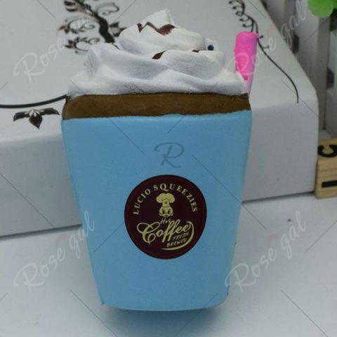 Outfit Stress Relief Squishy Toy PU Simulation Straw Cup - BLUE  Mobile