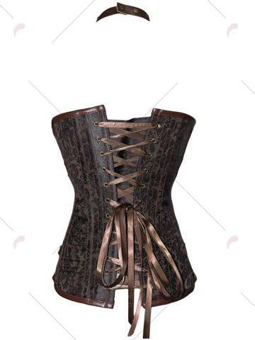 New Studded Lace Up Halter Corset Top - S BROWN Mobile