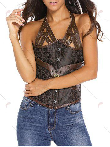 Sale Studded Lace Up Halter Corset Top - S BROWN Mobile