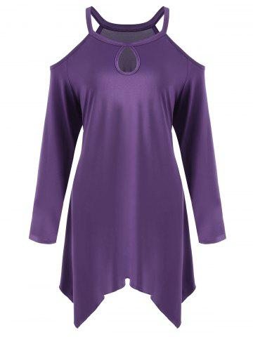 Affordable Plus Size Asymmetric Long Sleeve Cold Shoulder Tee PURPLE XL
