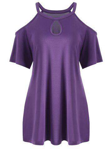 Plus Size Keyhole Neck Cold Shoulder Tee - Purple - 5xl