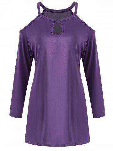 Plus Size Long Sleeve Cold Shoulder Tee - Purple - 5xl