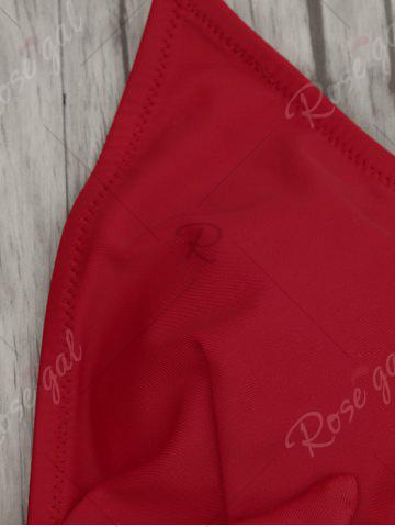 Shops Halter One Piece Padded Swimwear - XL RED Mobile