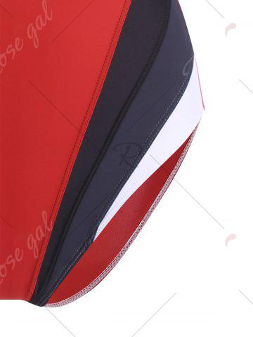 Affordable One Piece Color Block Backless Sports Swimsuit - M RED Mobile