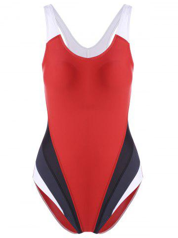 One Piece Color Block Backless Sports Swimsuit Rouge M