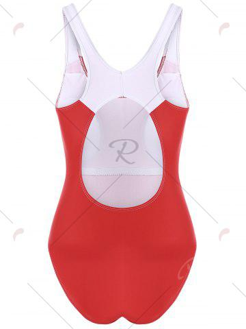 Online One Piece Color Block Backless Sports Swimsuit - M RED Mobile