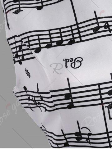 New Music Note Print Party Swing Dress - L WHITE Mobile