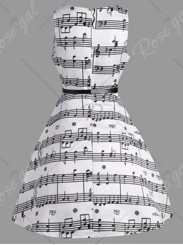 Affordable Music Note Print Party Swing Dress - L WHITE Mobile
