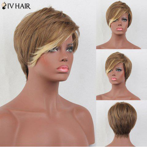 Affordable Siv Hair Short Layered Side Bang Straight Colormix Human Hair Wig - COLORMIX  Mobile