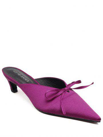 Outfit Bow Pointed Toe Satin Slippers - 37 ROSE RED Mobile