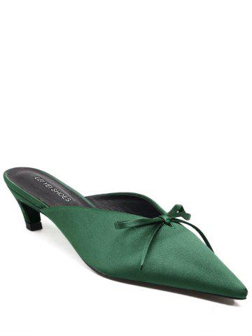 Bow Pointed Toe Satin Slippers - Green - 38