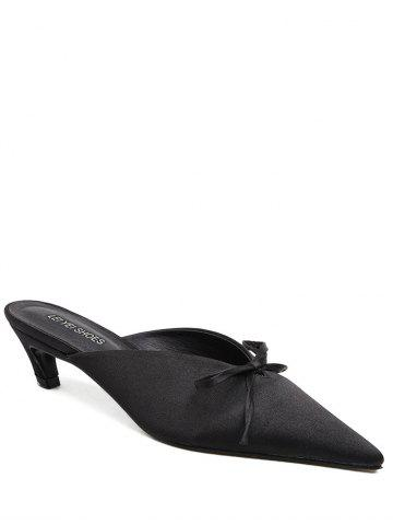 Chic Bow Pointed Toe Satin Slippers - 38 BLACK Mobile