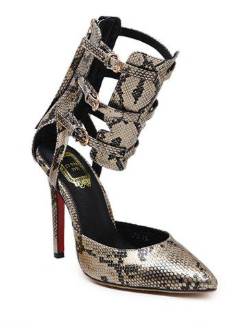 Latest Snake Print Buckle Straps Pumps GOLDEN 41