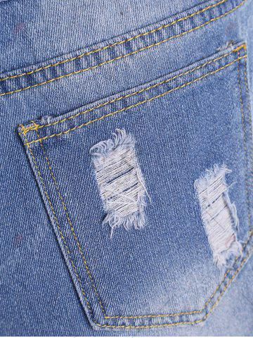 Latest Embroidered Ripped Mini Denim Shorts - S BLUE Mobile