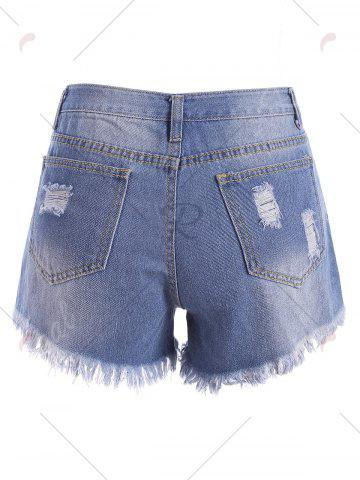 Shop Embroidered Ripped Mini Denim Shorts - S BLUE Mobile