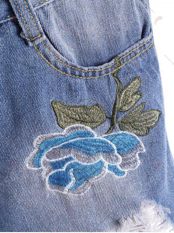 Trendy Embroidered Ripped Mini Denim Shorts - M BLUE Mobile
