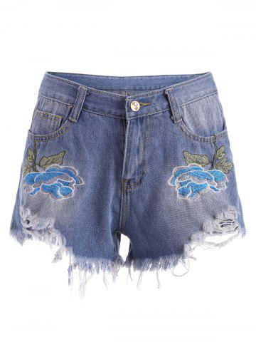 Affordable Embroidered Ripped Mini Denim Shorts - L BLUE Mobile
