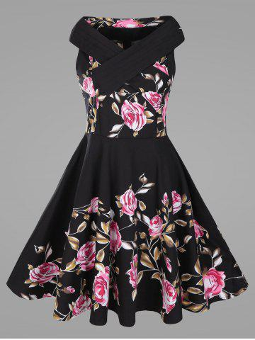 Criss Cross Plus Size Floral 1950s Pin Up Dress - Black - 5xl