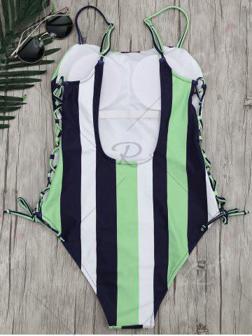 Hot Stripe Lace-Up One Piece Swimsuit - M STRIPE Mobile