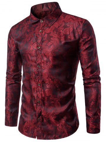 Long Sleeve Paisley Vintage Shirt - Wine Red - M