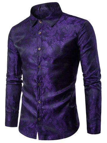 Long Sleeve Paisley Vintage Shirt - Purple - L