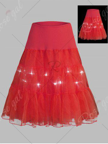 Trendy Plus Size Cosplay Light Up Party Skirt - RED 2XL Mobile