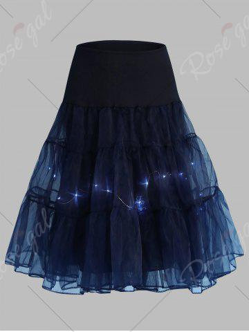 New Plus Size Cosplay Light Up Party Skirt - CERULEAN 4XL Mobile