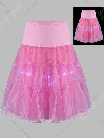 Affordable Plus Size Cosplay Light Up Party Skirt - LIGHT PINK 5XL Mobile