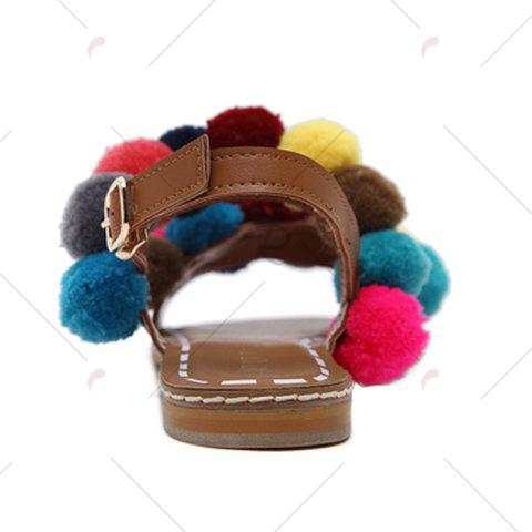 Best Bohemian Colorful Pom Pom Sandals - 37 BROWN Mobile