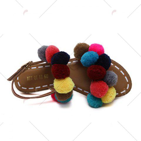Discount Bohemian Colorful Pom Pom Sandals - 37 BROWN Mobile