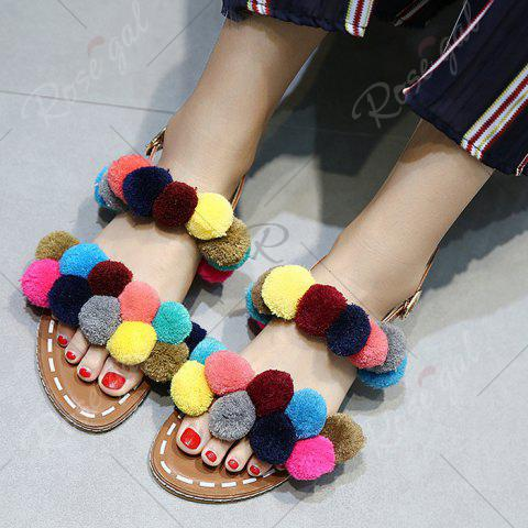 New Bohemian Colorful Pom Pom Sandals - 37 BROWN Mobile