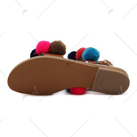 Affordable Bohemian Colorful Pom Pom Sandals - 37 BROWN Mobile