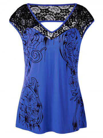 New Plus Size Lace Insert Open Back Top BLUE 3XL