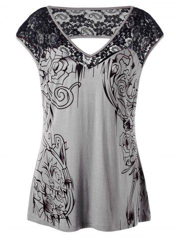 Best Plus Size Lace Insert Open Back Top GRAY XL