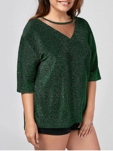 Cheap Sparkly Glitter Plus Size Top - 3XL GREEN Mobile