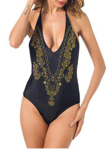 Outfit Halter Low Back Embroidered Swimsuit