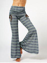 Chic High Waist Bowknot Lace Loose Flare Pants For Women - GRAY